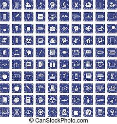 100 education icons set grunge sapphire