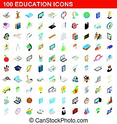 100 education icons set, isometric 3d style