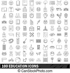 100 education icons set, outline style