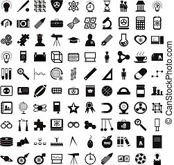 100 education icons set, simple style