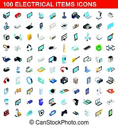 100 electrical items icons set, isometric 3d style