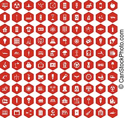 100 electricity icons hexagon red