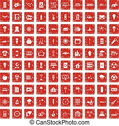 100 electricity icons set grunge red