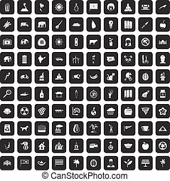 100 elephant icons set black