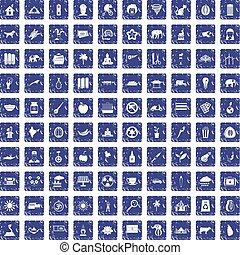 100 elephant icons set grunge sapphire