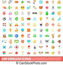 100 emblem icons set, cartoon style