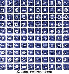 100 emblem icons set grunge sapphire