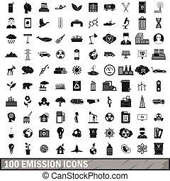 100 emission icons set, simple style
