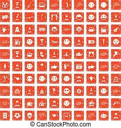100 emotion icons set grunge orange - 100 emotion icons set...