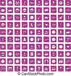 100 emotion icons set grunge pink - 100 emotion icons set in...