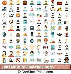 100 emotions training icons set, flat style