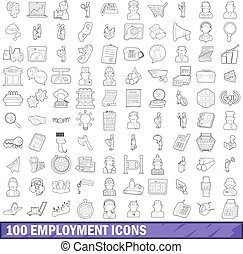 100 employment icons set, outline style