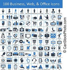 100, empresa / negocio, tela, y, iconos de la oficina