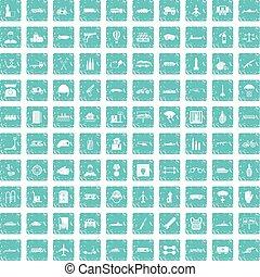 100, encargo, ícones, jogo, grunge, azul