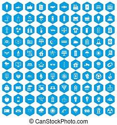 100, energía solar, iconos, conjunto, azul