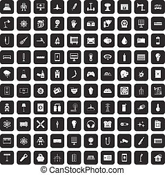 100 energy icons set black