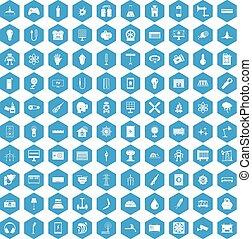 100 energy icons set blue