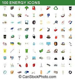 100 energy icons set, cartoon style