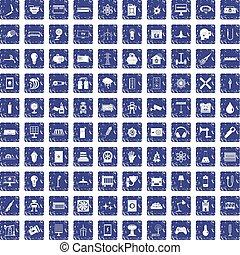 100 energy icons set grunge sapphire