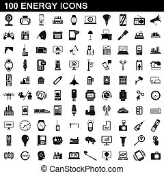 100 energy icons set, simple style