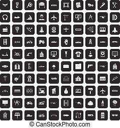 100 engineering icons set black