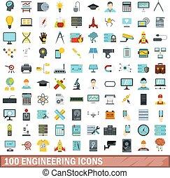 100 engineering icons set, flat style