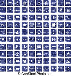 100 engineering icons set grunge sapphire