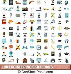 100 engineering skill icons set, flat style