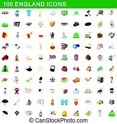 100 england icons set, cartoon style