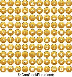 100, ensemble, asiatique, or, icônes