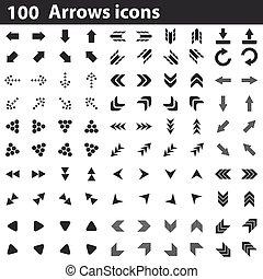 100, ensemble, flèches, icônes