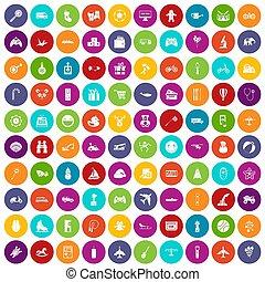 100, ensemble, jouets colorent, icônes, gosses
