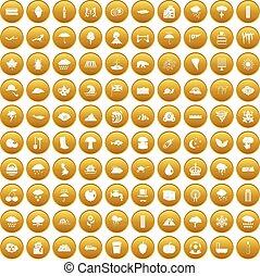 100, ensemble, pluie, or, icônes