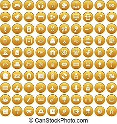 100 entertainment icons set gold