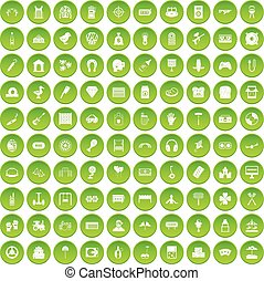 100 entertainment icons set green