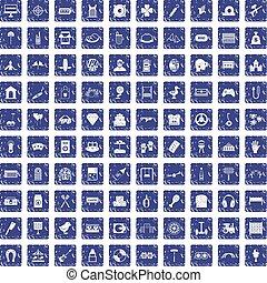100 entertainment icons set grunge sapphire