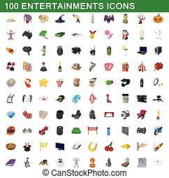 100 entertainments icons set, cartoon style