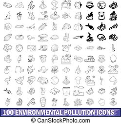 100 environmental pollution icons set
