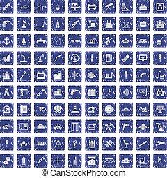 100 equipment icons set grunge sapphire