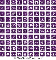 100, escudo, ícones, jogo, grunge, roxo