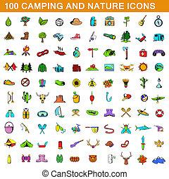 100, estilo, acampamento, caricatura, jogo, ícones