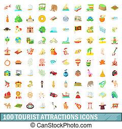 100, estilo, atração, caricatura, jogo, ícones, turista