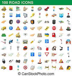 100, estilo, caricatura, estrada, jogo, ícones