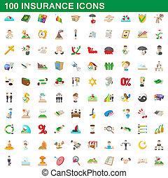 100, estilo, caricatura, jogo, ícones, seguro