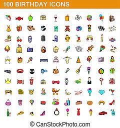 100, estilo, caricatura, jogo, aniversário, ícones