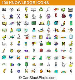 100, estilo, caricatura, jogo, conhecimento, ícones