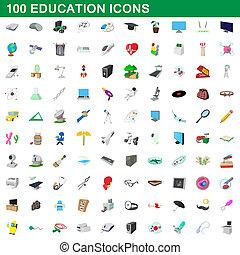 100, estilo, caricatura, jogo, educação, ícones