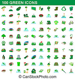100, estilo, caricatura, jogo, verde, ícones