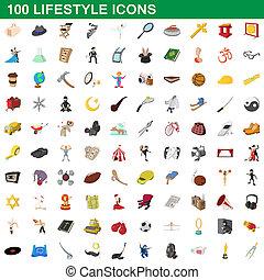 100, estilo, estilo vida, caricatura, jogo, ícones