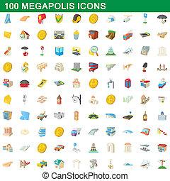 100, estilo, megapolis, caricatura, jogo, ícones